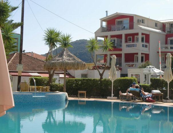 Pool outside accommodation